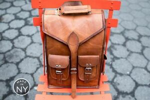 Real Genuine Leather Backpack Women Fashion retro Style Vintage New School Bag