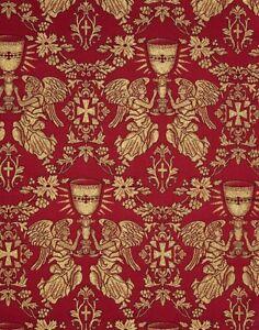 Greek-Liturgical-Brocade-Church-Fabric-Vestment-Cross-Angels-amp-Chalice-Pattern