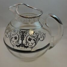Antique Sterling Silver Ornate Overlay Rounded Glass Pitcher