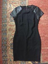 ZARA Leather cap form fitting sleeve black dress LARGE