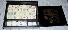 VINTAGE 1920'S  CHINESE MAH JONG GAME BONE & BAMBOO TILES BLACK DRAGON CASE