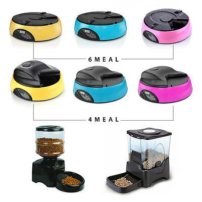 4/6/Large Programmable Timer Automatic Pet Dog Cat Food Feeder Water Tray Bowls