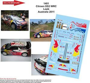 DECALS 1//43 REF 1401 CITROEN DS3 WRC SEBASTIEN LOEB RALLYE AUSTRALIE 2011 RALLY