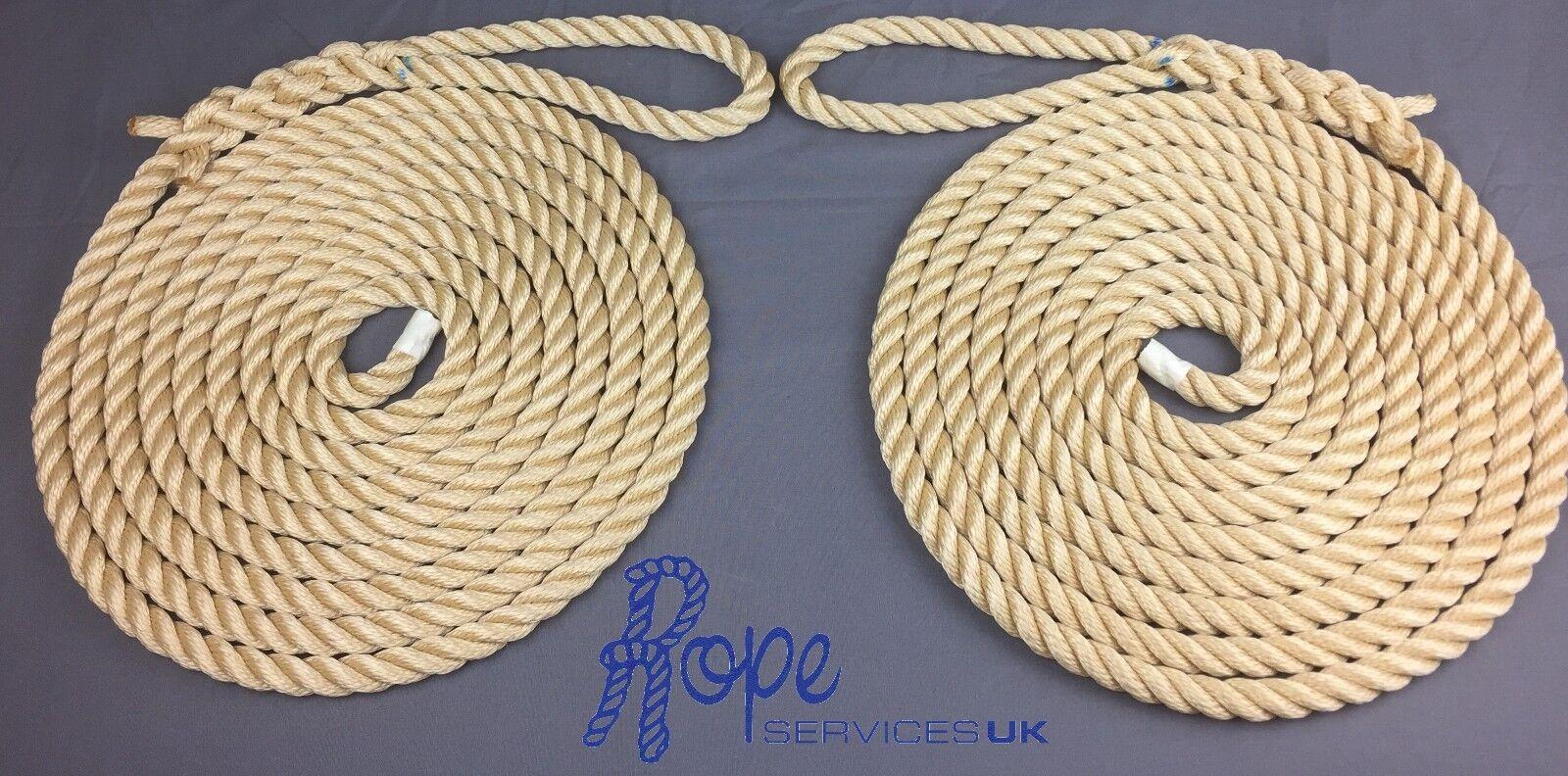 12mm Beige Mooring Ropes, 2 x 12 Metres, Softline, Warps, Boat Lines, Yachts