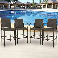 Set of 4 Outdoor Barstool Wicker Patio Furniture Bar Stool 330lbs Capacity Brown