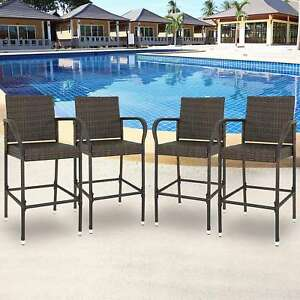 Prime Details About Set Of 4 Indooor Outdoor Backyard Patio Wicker Barstool Patio Bar Stools Brown Spiritservingveterans Wood Chair Design Ideas Spiritservingveteransorg
