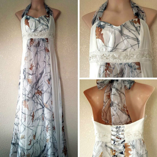 Camo White Wedding Dresses Halter Bridal Gowns Camouflage Tulle Ball Gown  Custom
