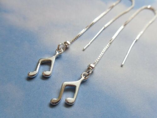 long dangley delicate Tiny Music Notes sterling silver threader earrings
