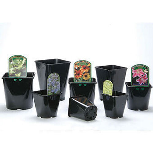 e418 100 x 1 Litre High Quality Pro Grade Square Black Plastic Plant Pots
