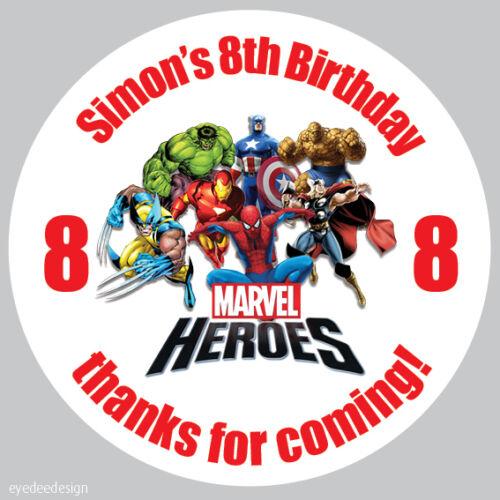 35 X Pegatinas personalizado de Marvel Heroes Bolsa Fiesta De Cumpleaños Caja Dulce Cono 28