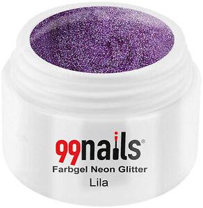 Farbgel Neon Glitter - Lila 5ml - Gel Farbe Neon Glitzer Lila UV Farbgel UV Gel