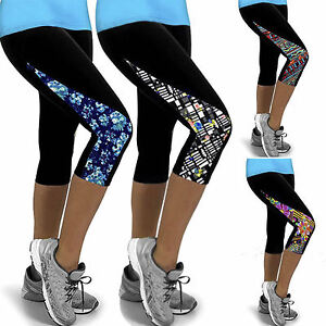 Womens-Sports-Yoga-Fitness-Capri-Leggings-Gym-3-4-Pants-Floral-Cropped-Trousers