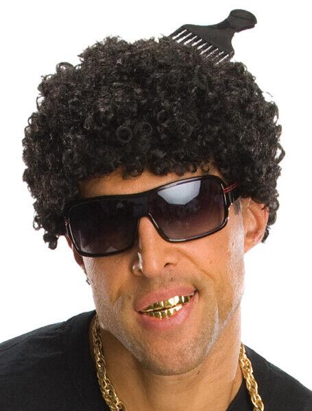 Tight Afro Black 80s Hip Hop Rap Star Costume Men Wig