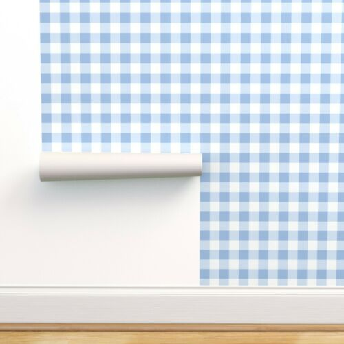 Removable Water-Activated Wallpaper Blue And White Plaid Light Gingham Tartan