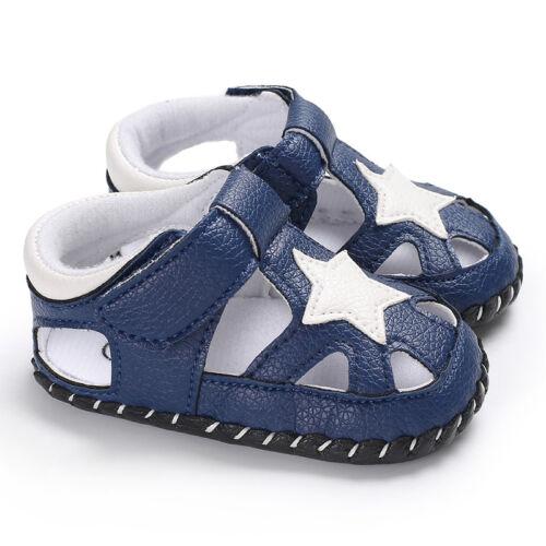 New Arrival Infant Baby Boy Star Pram Shoes Toddler Anti-Slip PreWalking Sandals
