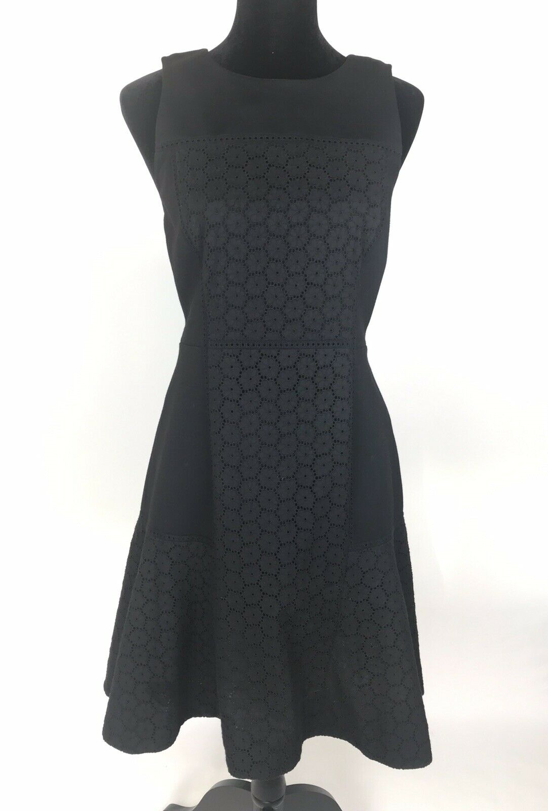 J.Crew Collection Paneled Eyelet Dress Fit & Flare schwarz Größe 6 Knee Length