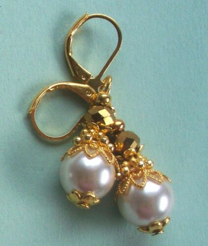 Details about  /GLASS PEARL drops ANTIQUE WHITE Lever back handcrafted CHOOSE