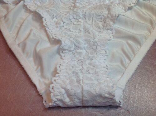 Women Panties Bikinis ILUSION Size M White Soft Floral Fishnet W//satin Back