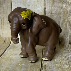 Josef-Originals-Elephant-Mother-Figurine-Yellow-Flowers-Big-Eyes-Comical