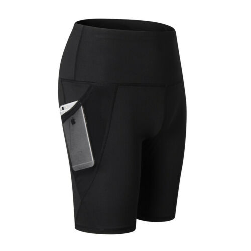 Women/'s High Waist Out Pocket Yoga Shorts Tummy Control Workout Running Athletic