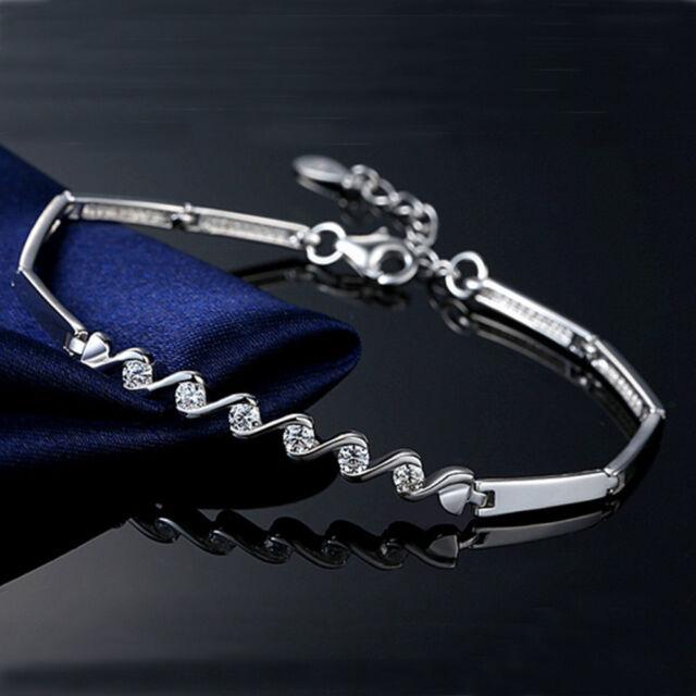 Women Silver Cubic Zircon Chain Bracelets Bangles Charm Crystal Bracelet Jewelry