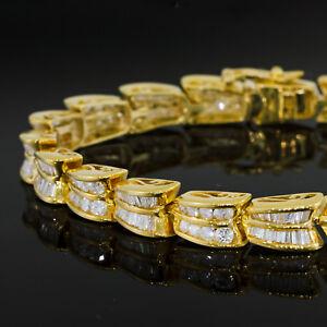 Details About 5 Carat Diamond Tennis Bracelet 14k Yellow Gold Round And Baguette Cut Ct Tw
