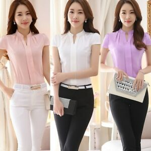 63f718704c2 Women s Formal Cotton Shirt Office Lady Uniform OL Work V Neck ...