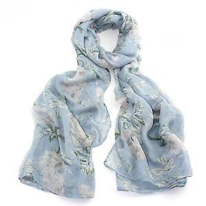 Light-Blue-Grey-White-Floral-Flower-Pretty-Ladies-Womens-Scarf-Scarves-Wrap-New