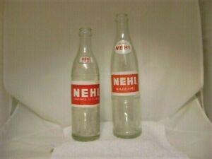 Vintage N E H I Soda Bottles, 16 FL. OZ. & 12 FL. OZ. With Painted Labels