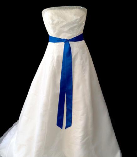 Royal Bleu Satin Robe De Mariée Fête Ruban Sash Ceinture Cravate Bande Demoiselle D/'Honneur Bow