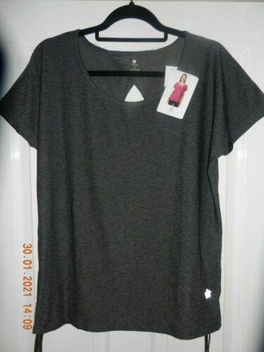Tuff Athletics Ladies Active Keyhole T-Shirt Top Yoga Keep Fit Grey Medium NWT