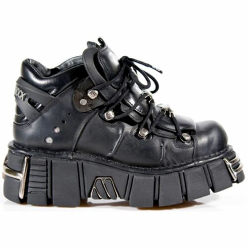 M106-s1 New Rock Tower Unisex Metallic Black Natural Leather Biker Gothic Boots