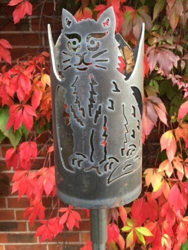 Gartenfackel Katze Set inkl variablen Stiel und 2 Wachsrollen Feuerflair Fackel