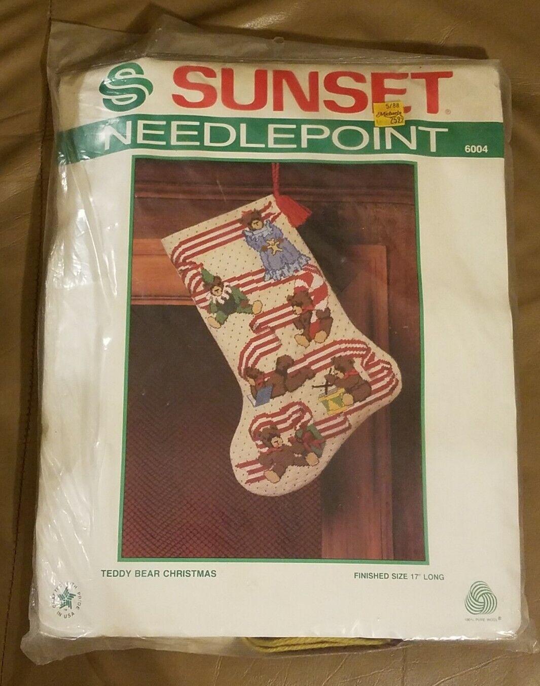 Rare 1992 Sunset Needlepoint Stocking Kit Stocking Full of Toys New