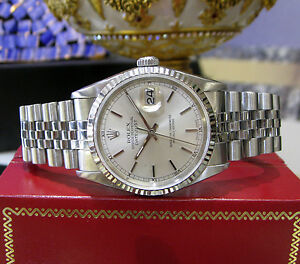 Mens-Rolex-Oyster-Perpetual-Datejust-Stainless-Steel-White-Gold-Watch