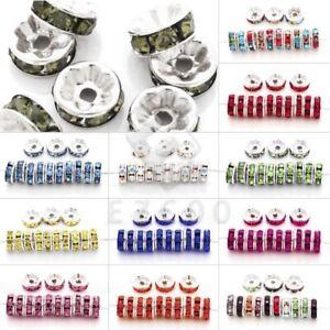 100pc-Rhinestone-Crystal-Beads-Jewellery-Round-Straight-Silver-5-6-8-10-12mm-PW