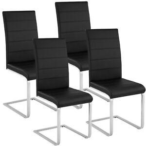 4x-Esszimmerstuhl-Freischwinger-Schwing-Stuhl-Set-Stuehle-Polsterstuhl-schwarz