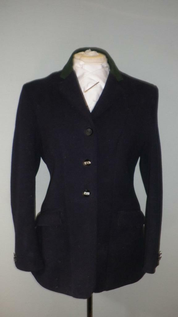 Vintage Ladies 'Foxley' Heavy Weight Hunt Coat- Navy With Green Collar-38  Chest