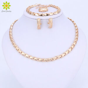 Image is loading African-Beads-Jewelry-Set-Exquisite-Flash-Dubai-Gold-  sc 1 st  eBay & African Beads Jewelry Set Exquisite Flash Dubai Gold Plated Necklace ...