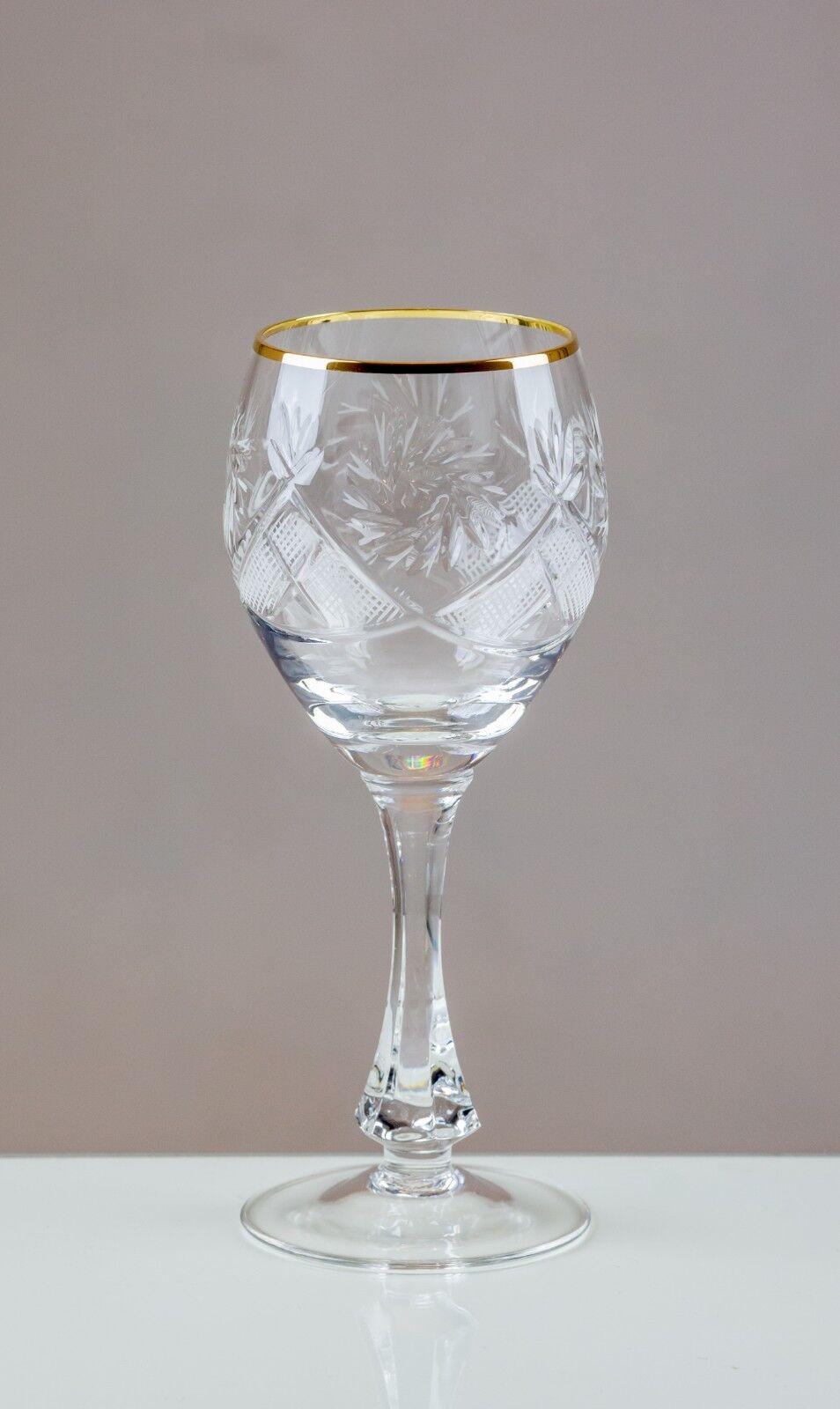 Thistledown 6 or cerclées de Rouge Verres à Vin 24% coupe cristal de plomb 100% Fait Main