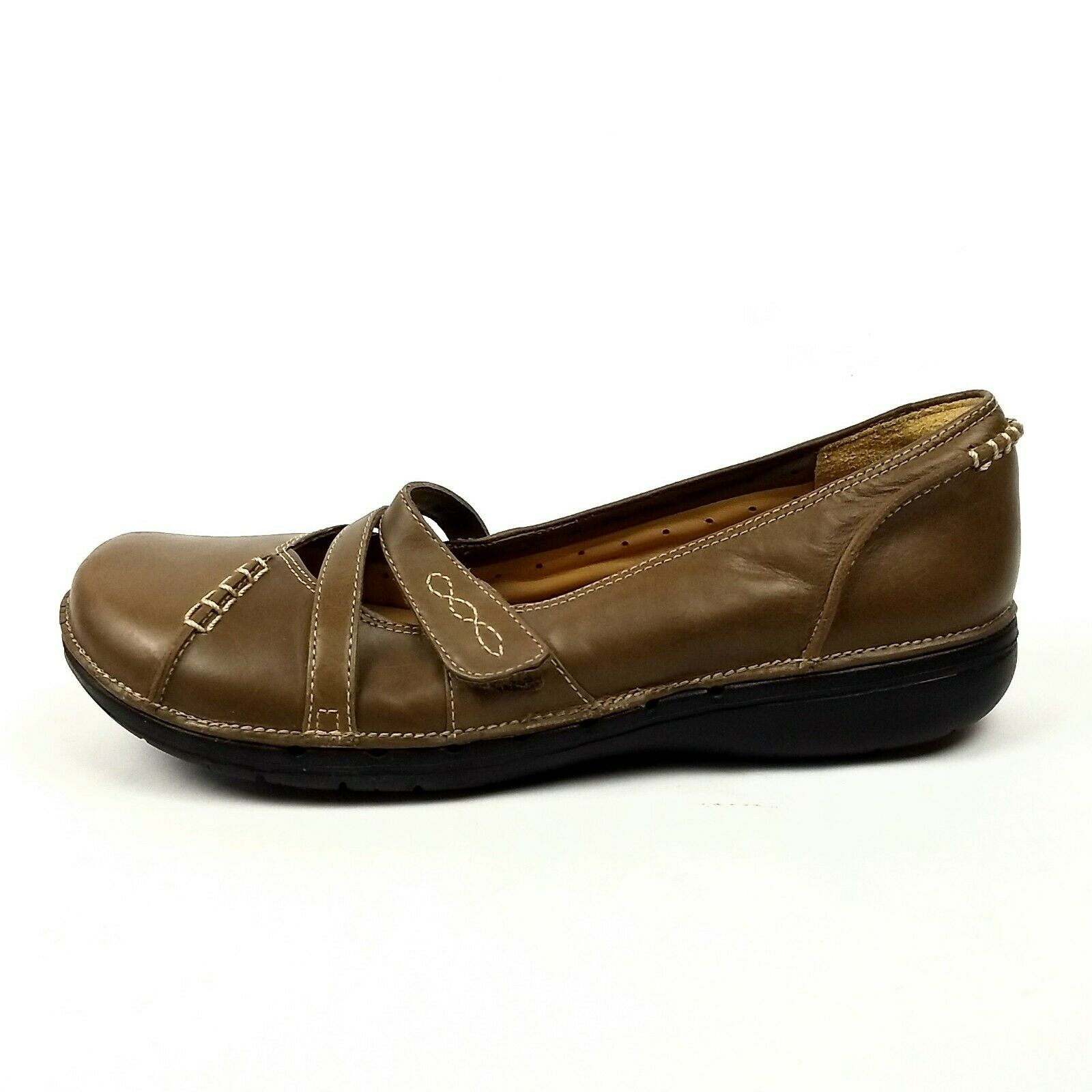 Clarks 61087 Harmony Unstructured Mary Jane Flats Flats Flats Womens Size 7.5M Taupe Leather cc3801
