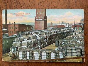 Postcard-One-Shipment-of-Cotton-2500-Bales-Railroad-Yard-Union-Elevator