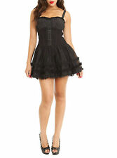 S Royal Bones Sexy Corset Dress Black Tulle Tiered Skirt Goth Gothic Punk Rock