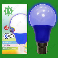 1x 6W LED Blue Coloured GLS A60 Light Bulb Lamp BC B22, Low Energy 110 - 265V