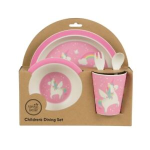Image is loading Rainbow-Unicorn-Bamboo-Tableware-Set-Children-s-Kids-  sc 1 st  eBay & Rainbow Unicorn Bamboo Tableware Set Childrenu0027s Kids Dinner Plate ...
