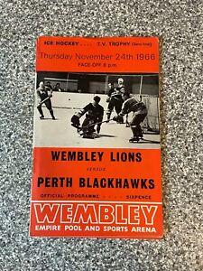 Wembley Empire Pool - Wembley Lions - Ice Hockey Programme 24/11/1966