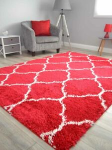 Red Off White Small Extra Large Soft Thick Trellis Shaggy