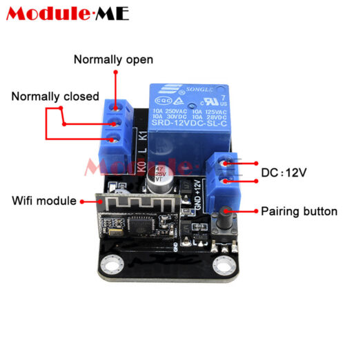 DC12V Smart Wifi Wireless Self-lock Switch Delay Relay Module By APP IOS Android