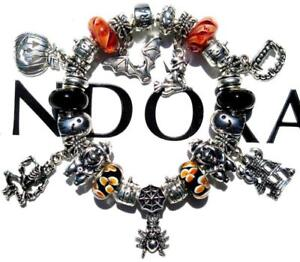 bab98c8f6 Image is loading Authentic-PANDORA-Silver-Charm-Bracelet-with-Charms- HALLOWEEN-