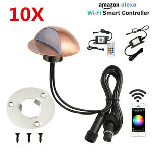 10XSmart-Wifi-50mm-12V-Bronze-HalfMoon-LED-Deck-Stair-Light-Step-Fence-Wall-Lamp